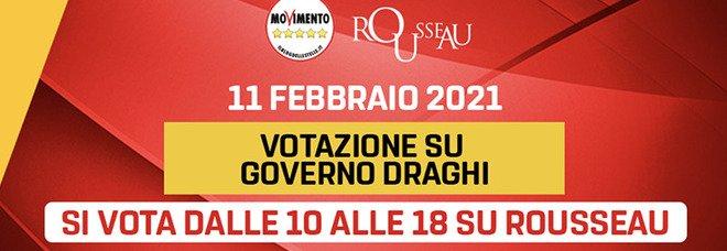 Rousseau M5S su Governo Draghi : oltre 100 mila voti