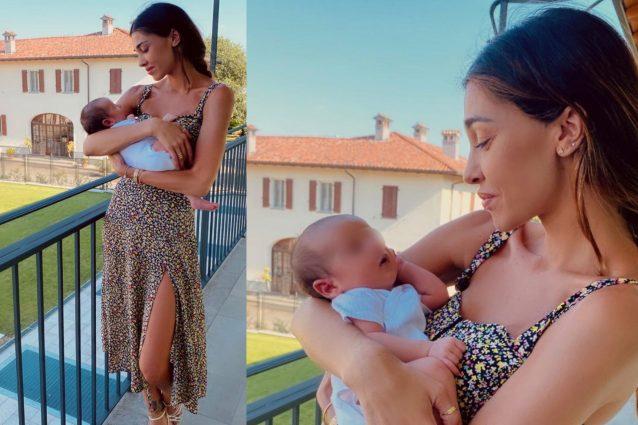 Belen Rodriguez dolcissima e al naturale nel scatto con il neonato
