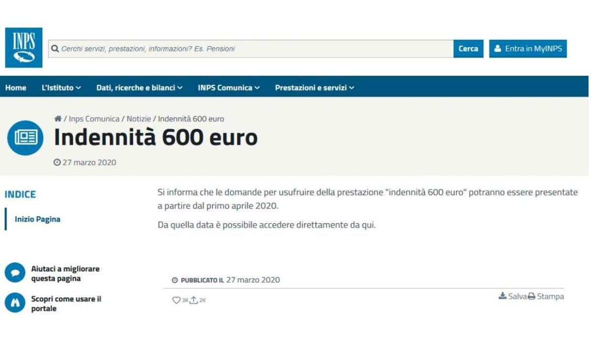 INPS e bonus di 600 euro : non c