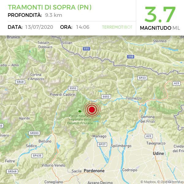 Terremoto oggi Udine, scossa di magnitudo 3.7 avvertito in Friuli e in Veneto