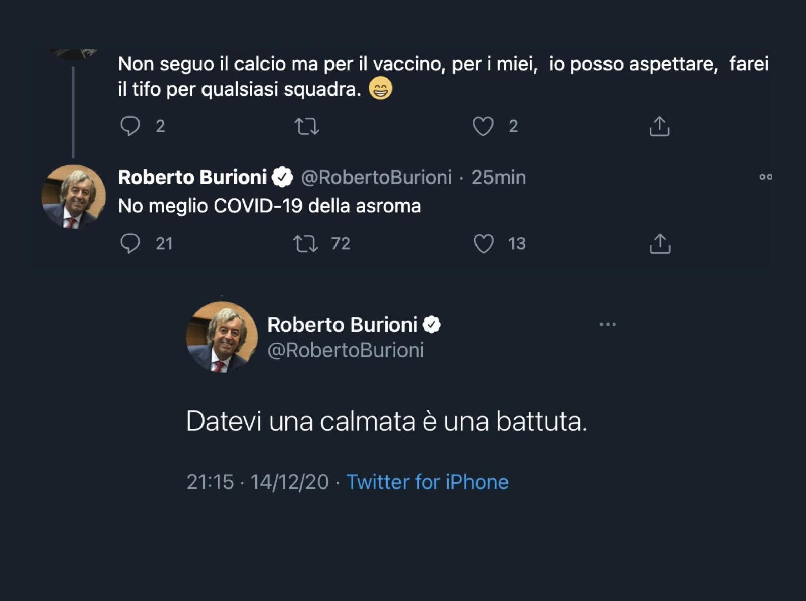 La frase di Roberto Burioni che fa infuriare tutti : Meglio il Covid-19 dell'As Roma