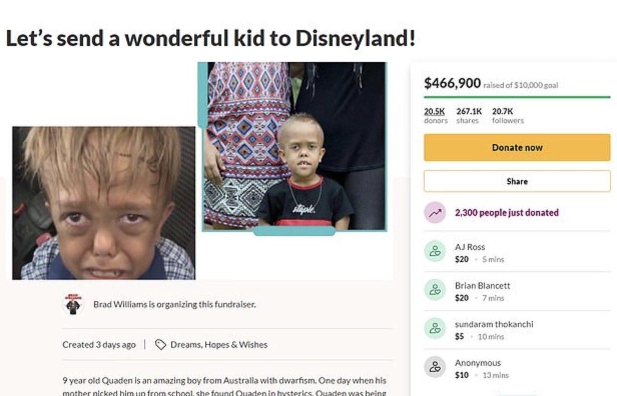 Il piccolo Quadenbullizzato a scuola : Rinuncia a mezzo milione e Disneyland