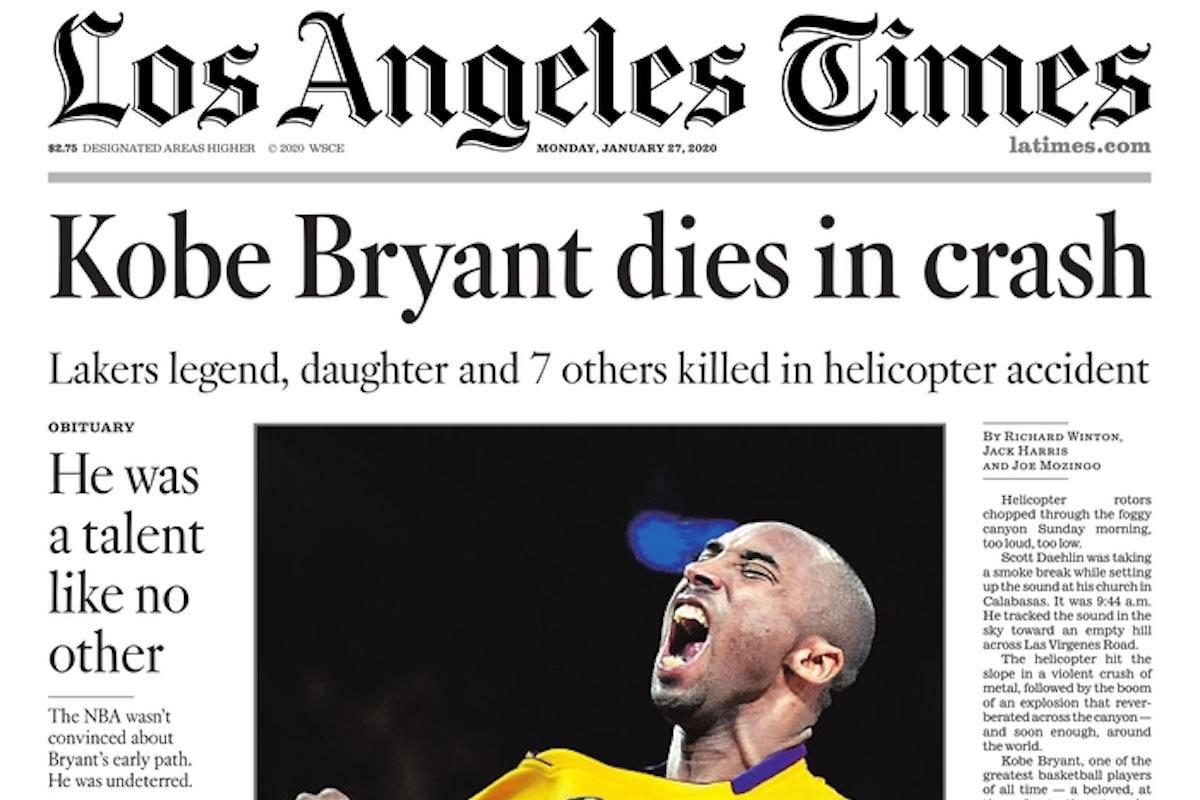 La tragica morte di Kobe Bryant e della figlia sulle prime pagine nel mondo