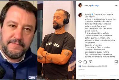 Matteo Salvini  e Fabio Volo, Linus rimprovera : Ha sbagliato e mi scuso