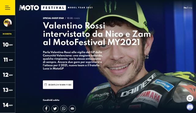 Valentino Rossi in esclusiva  al MotoFestival MY2021